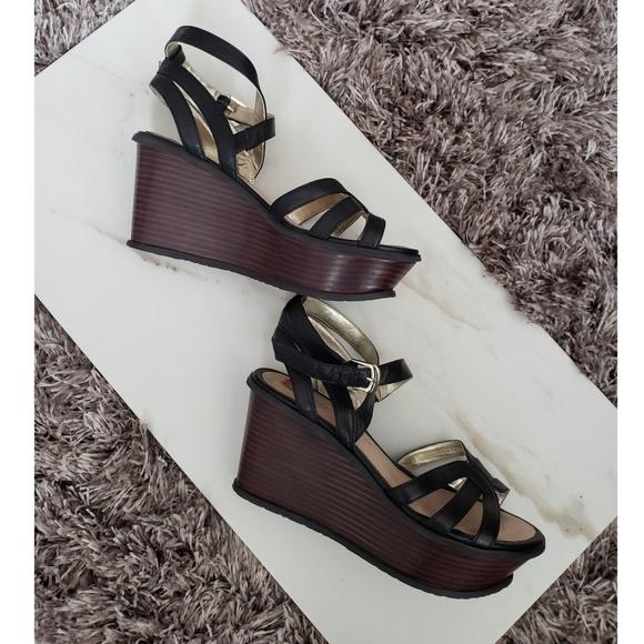25b59c82ad5b9 Elaine Turner Shoes - Elaine Turner Athena Black Wedge Sandal SZ 8